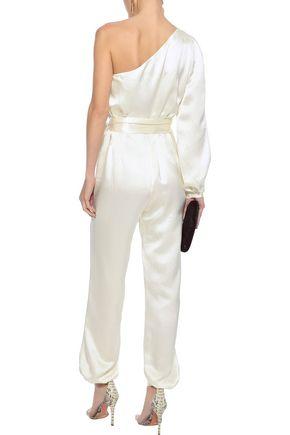 HANEY Emerson one-shoulder hammered silk-satin jumpsuit
