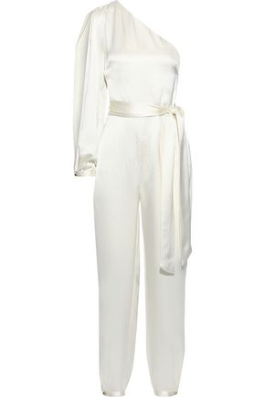 HANEY Emerson one-shoulder hammered silk-satin jumpsuit