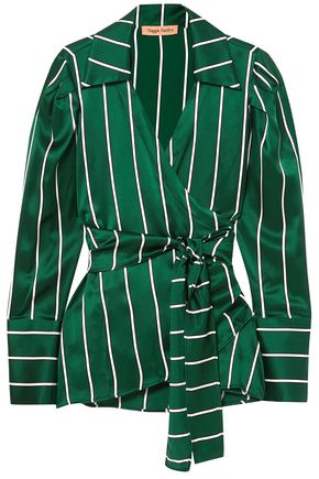 MAGGIE MARILYN Wrap It Up striped silk-satin shirt