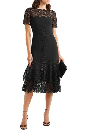 Jonathan Simkhai Dresses JONATHAN SIMKHAI WOMAN TIERED MACRAMÉ LACE-PANELED  CADY MIDI DRESS BLACK