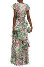 BADGLEY MISCHKA Ruffled georgette gown