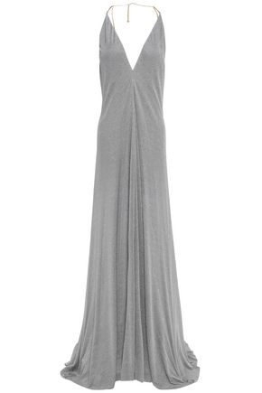 NINA RICCI Open-back chain-trimmed stretch-jersey gown