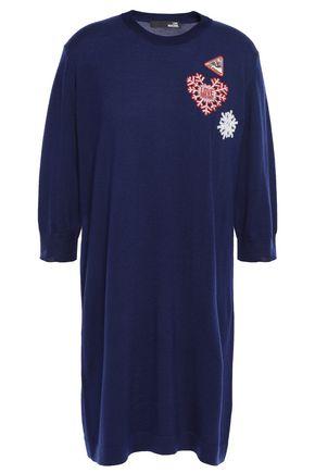 LOVE MOSCHINO Embellished wool mini dress