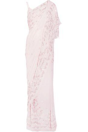 NEEDLE & THREAD Draped embellished silk-chiffon gown