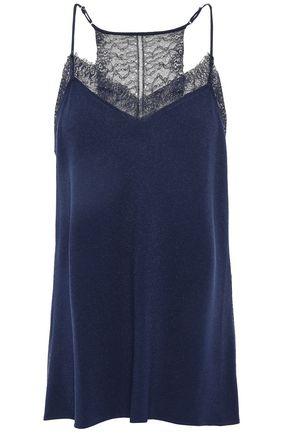 DIANE VON FURSTENBERG Lace-paneled crepe camisole
