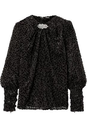 DODO BAR OR Crystal-embellished devoré blouse