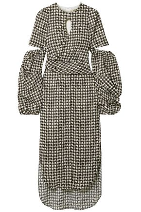 HELLESSY Wrap-effect cutout houndstooth satin-crepe midi dress