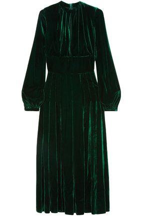 RAQUEL DINIZ Alma pleated silk-velvet maxi dress