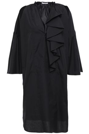 TOME Cutout ruffled cotton-poplin dress