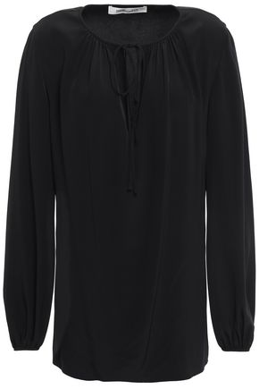 DIANE VON FURSTENBERG Gathered silk crepe de chine blouse