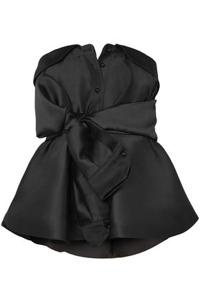 ALEXIS MABILLE Bow-detailed satin-twill peplum top