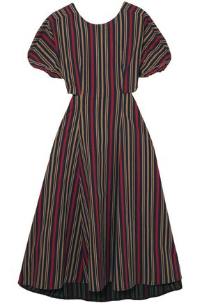 TOME Open-back striped cotton-blend midi dress