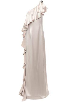 ZAC ZAC POSEN 装飾付き ラッフル付き ワンショルダー サテンクレープ ロングドレス