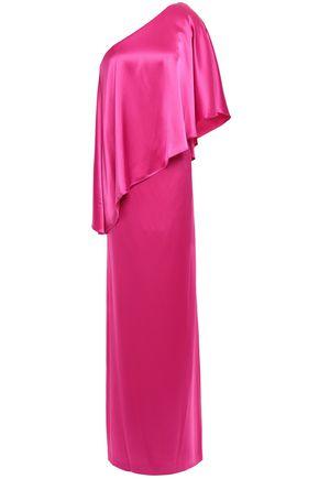 ZAC ZAC POSEN One-shoulder layered satin-crepe gown