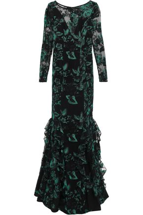 ZAC ZAC POSEN Ruffled embroidered tulle gown