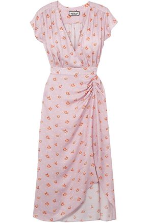 PAUL & JOE Marinette gathered floral-print satin-jacquard dress