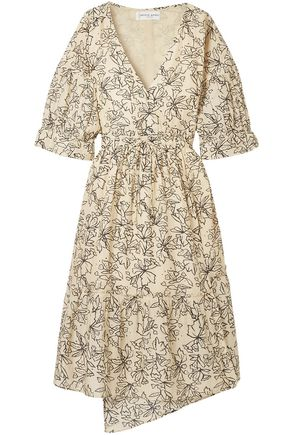 APIECE APART Anichka wrap-effect floral-print cotton and silk-blend voile midi dress