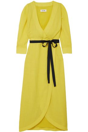 CEFINN Gauze midi wrap dress