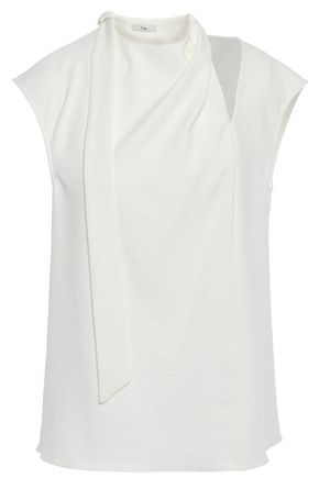 TIBI Cutout draped stretch-crepe top