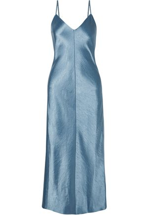 THEORY Hammered-satin midi dress