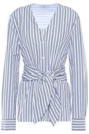 TIBI Liam tie-front striped cotton-poplin shirt