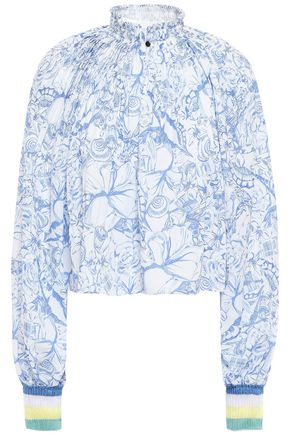 TIBI Pleated crepe de chine blouse