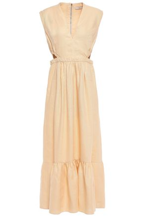 TIBI Cutout linen midi dress