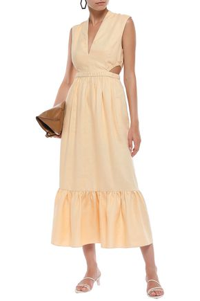TIBI Cutout linen midi dress