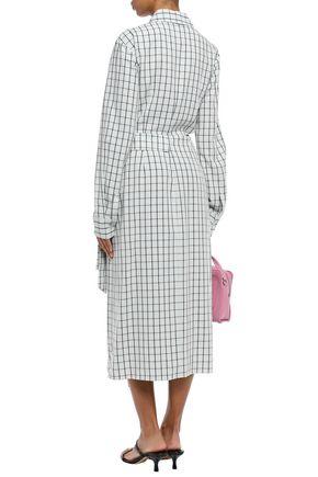 TIBI Cutout checked poplin midi wrap dress