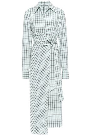 TIBI Cutout checked poplin midi wrap dress
