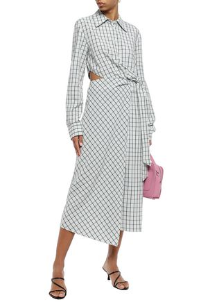 Tibi Woman Cutout Checked Poplin Midi Wrap Dress Mint