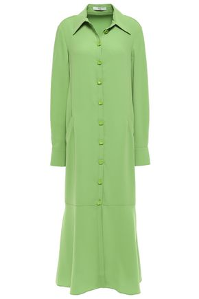 TIBI Fluted stretch-cady midi shirt dress