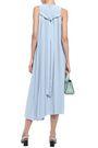 TIBI Edith tie-back pleated stretch-crepe midi dress
