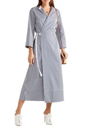 Joseph Woman Laury Striped Cotton-poplin Midi Wrap Dress Navy