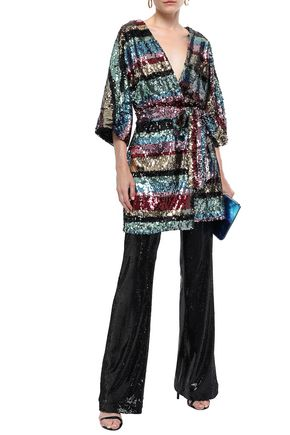 AINEA Sequined tulle wrap top