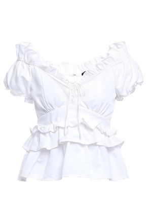 MARISSA WEBB Ruffled cotton and silk-blend top