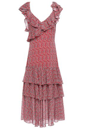 MARISSA WEBB Lisandra tiered ruffled printed gauze midi dress