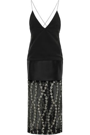 HAIDER ACKERMANN Glittered georgette-paneled satin and crepe midi dress