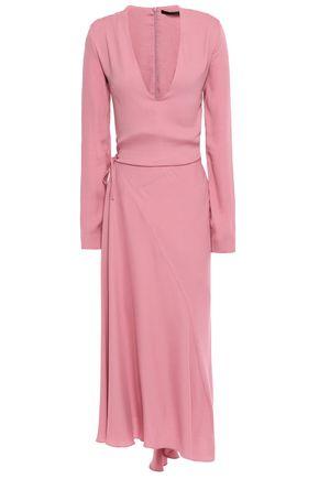 HAIDER ACKERMANN Wrap-effect layered crepe midi dress
