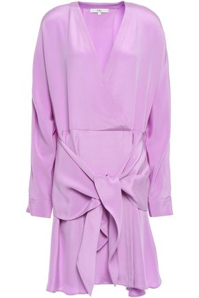 TIBI Tie-front silk-crepe mini dress