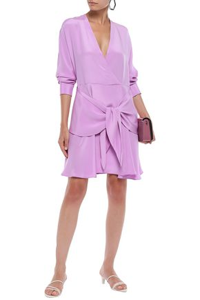 TIBI Tie-front silk-crepe mini dress