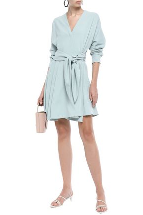 Tibi Woman Wrap-Effect Stretch-Crepe Mini Dress Mint