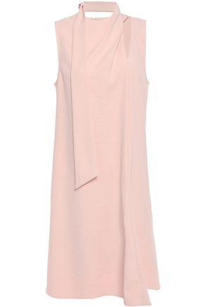 TIBI Tie-neck cutout stretch-cady mini dress