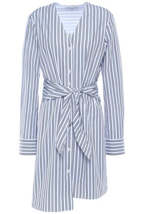 TIBI Belted cotton-poplin mini shirt dress