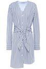 TIBI Liam tie-front striped cotton-poplin mini shirt dress