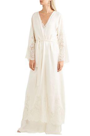 ETRO Lace-paneled silk-jacquard robe