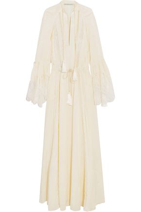 ETRO Lace-paneled tassel-trimmed silk-jacquard gown