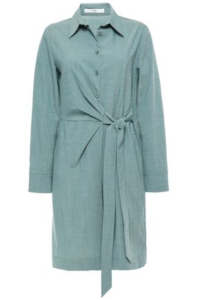 TIBI Wrap-effect stretch-wool playsuit