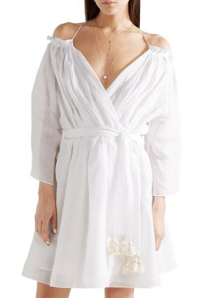 THREE GRACES LONDON Tessa cold-shoulder ramie wrap mini dress