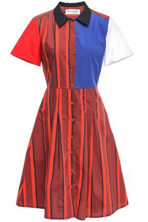 ÊTRE CÉCILE Flared striped cotton-poplin shirt dress